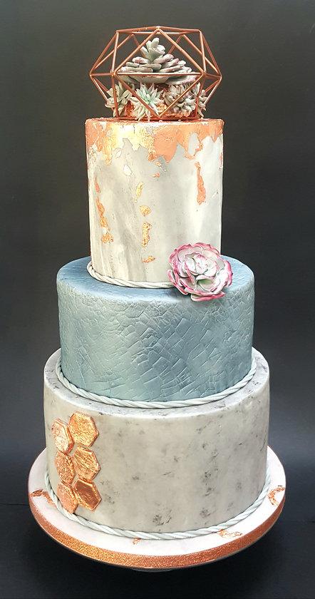 copper and concrete wedding cake.jpg