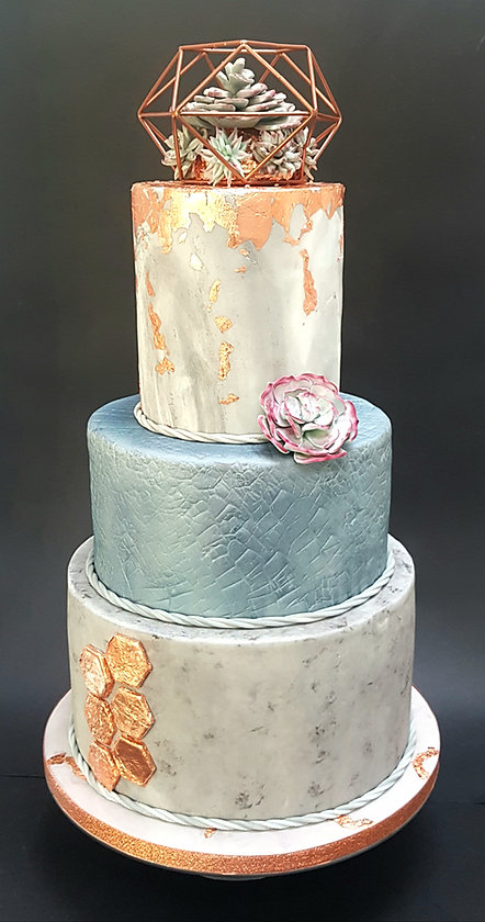copper and concrete wedding cake.jpg