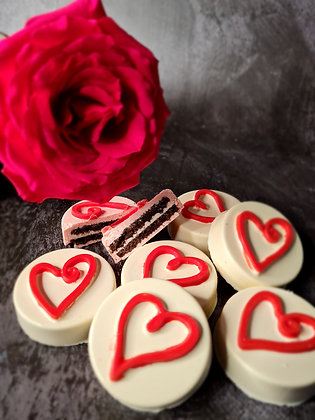 Chocolate Coated Oreos With Handpainted Scribble Heart