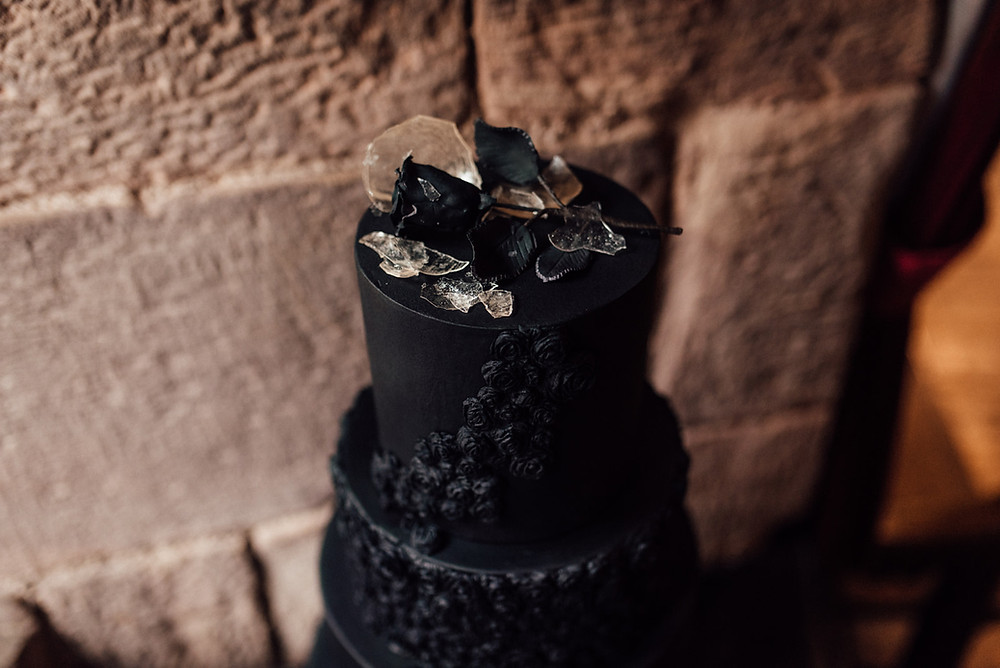 Black Wedding Cake with isomalt
