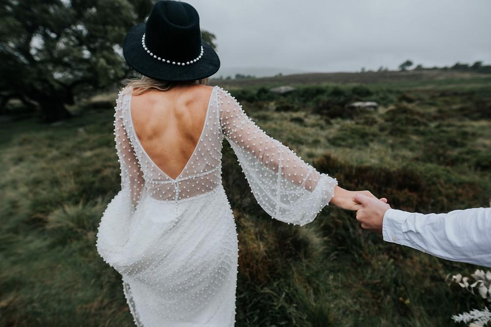run to the hills, elopement, wedding dress