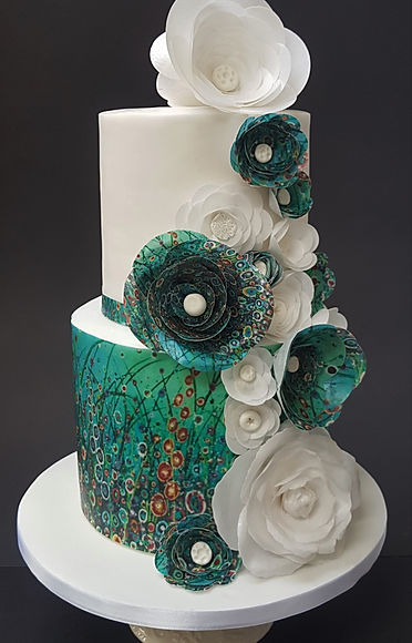 Two tier floral art wedding cake