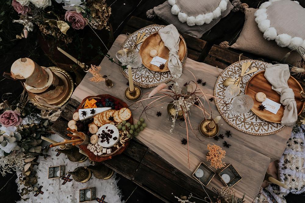 wedding table with wedding cake