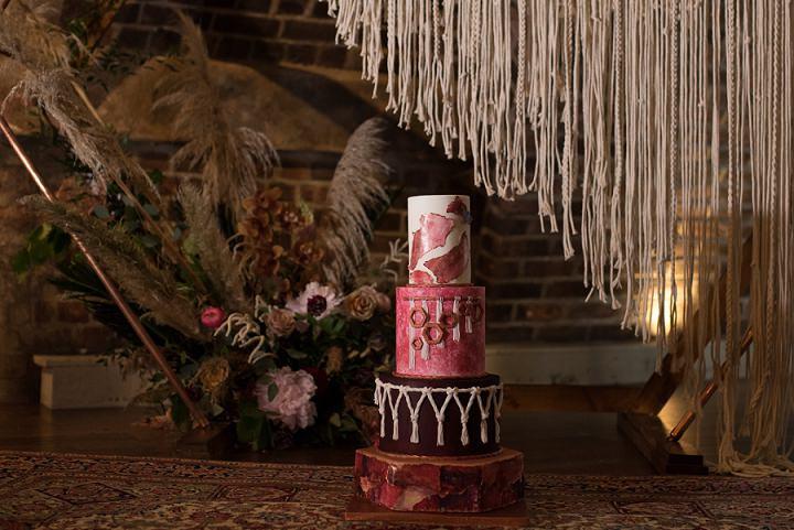 Boho Wedding Cake, Macrame Wedding Cake