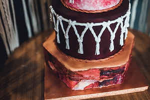macrame wedding cake close up