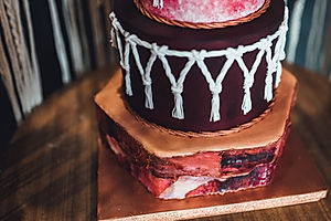 macrame wedding cake close up