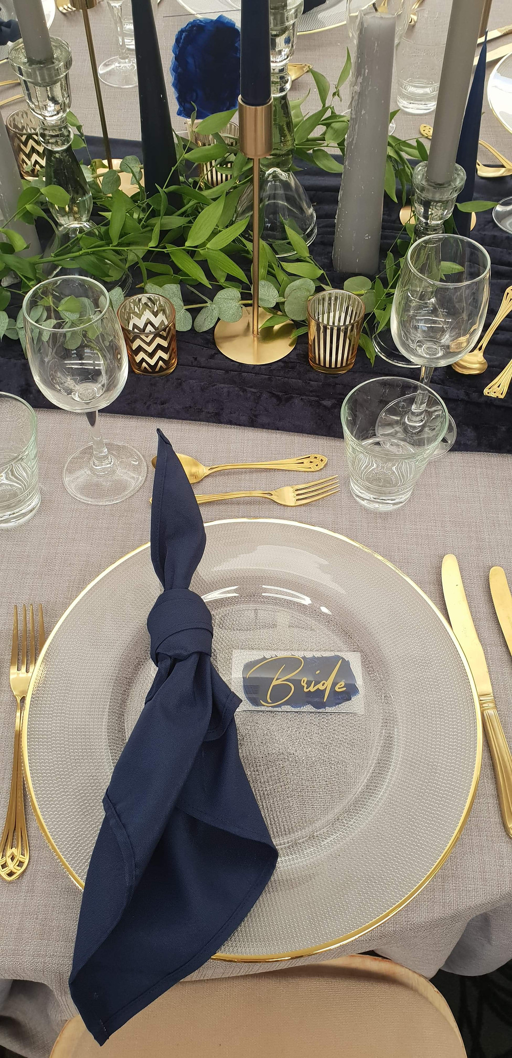 Blue and Gold Tablescape - Bespoke Events & Styling