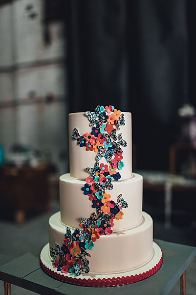 three tier butterfly wedding cake