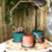 teal and copper wedding cake.jpg