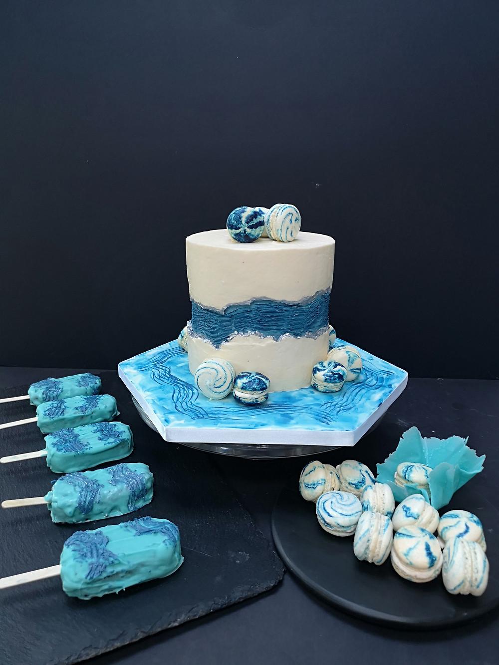 Blue faultline birthday cake _ Urban Cakehouse