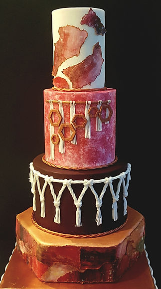 Macrame and original art 4 tier wedding cake