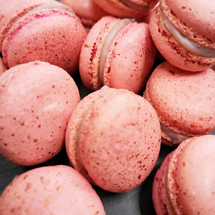 pink speckled macarons