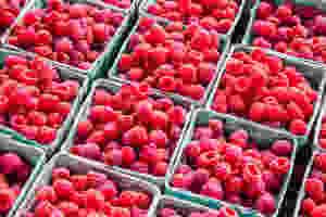 Raspberries for a Raspberry and white chocolate wedding cake