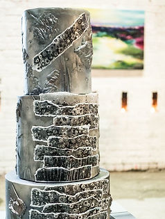 distressed silver wedding cake close up in Fly Tower