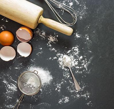 Bakery equipment on slate