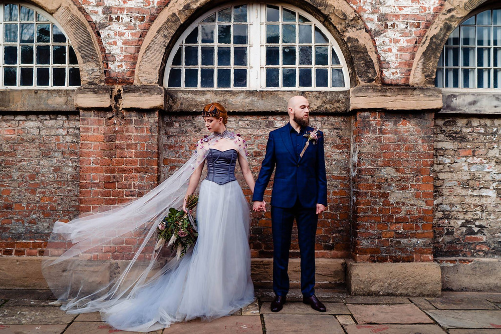 Classic Blue wedding suit - photo Vicky Clayson Photography. Dress Fiona Elizabeth Couture