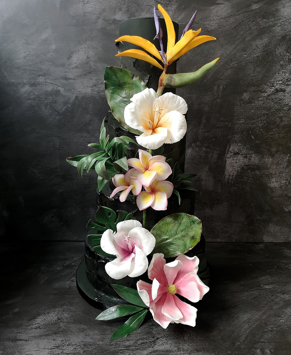 Tropical Flower Wedding Cake, Black Wedding Cake