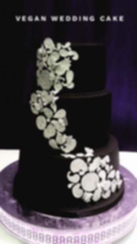 Three Tier Black Vegan Wedding Cake