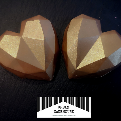 Pack of Two Golden Chocolate Geometric Hearts
