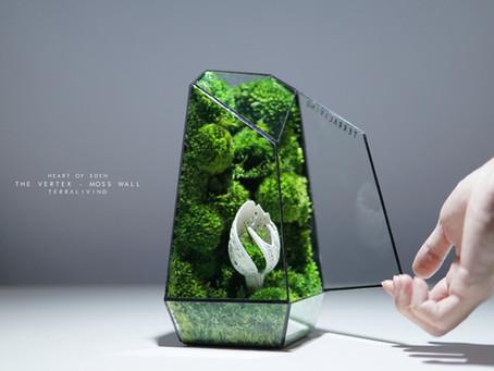 The Vertex - Moss Wall, Heart of Eden, Biomorphic Sculpture Preserved Moss Terrarium by TerraLiving