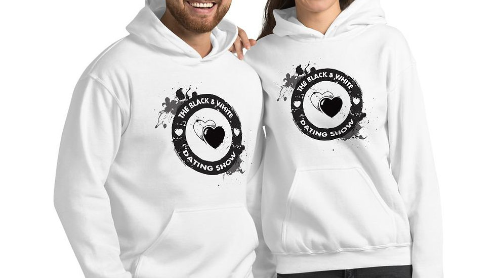 The Black & White Dating Show White Unisex Hoodie
