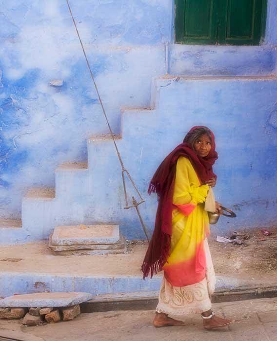 Udaipur Woman against Blue