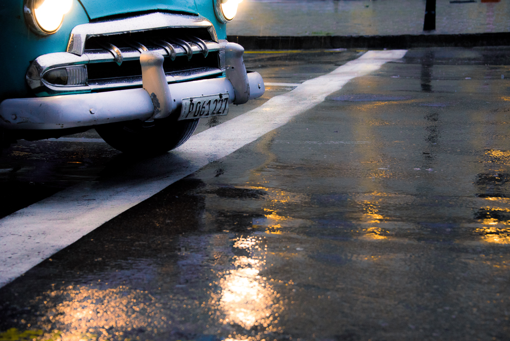 Rainy Pavement Car