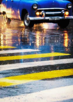 Blue Car Yellow Stripes