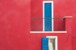 Burano Red Wall Blue Door