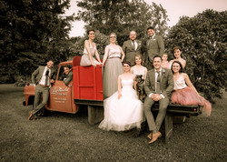 Bridal Party and Old Red Truck