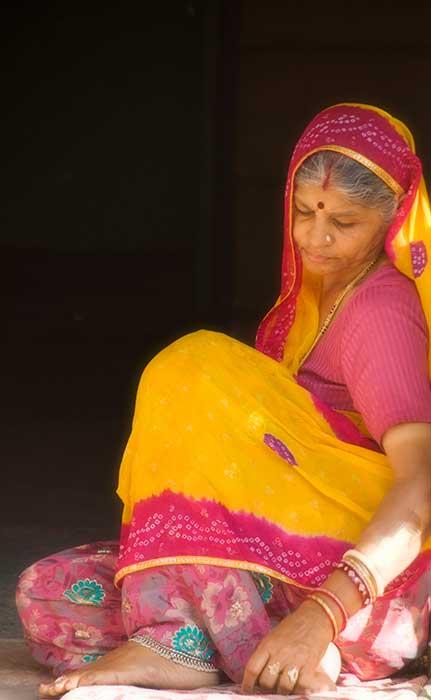 Jodhpur Pink Yellow Woman