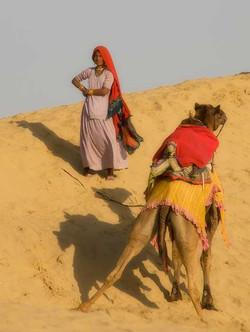 Jaisalmer Woman and Camel