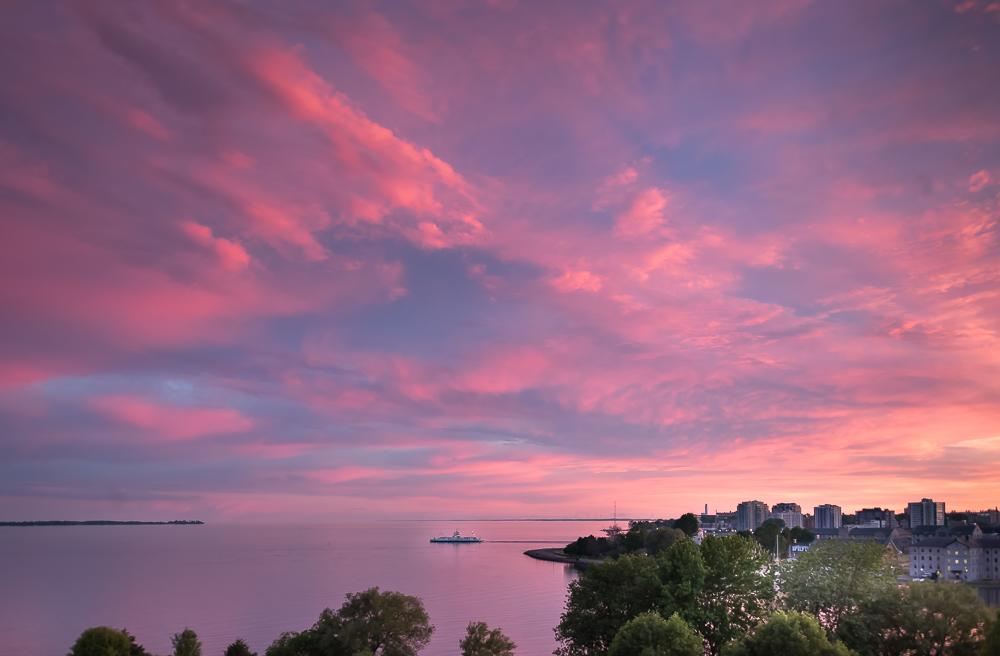 Wolfe Island Ferry under a Pink Sky