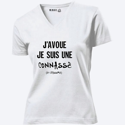 T-shirt Femme Col V J'avoue je suis une connasse citation