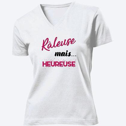 T-shirt Femme Col V Râleuse mais heureuse citation