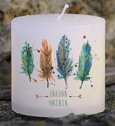 Bougie Personnalisée Nany Candle Hakuna Matata plume ethnique