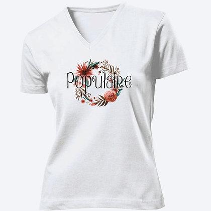 T-shirt Femme Col V Populaire citation