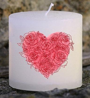 Bougie Personnalisée Nany Candle Love cœur fleur