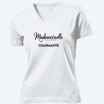 T-shirt Femme Col V Mademoiselle charmante citation