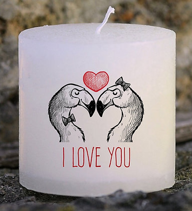 Bougie Personnalisée Nany Candle I love you flamant rose