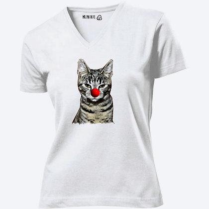 T-shirt Femme Col V Chat illustration mignon clown drôle