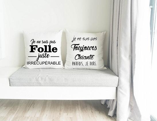 Duo Housses de Coussin Folle et chiante Citation