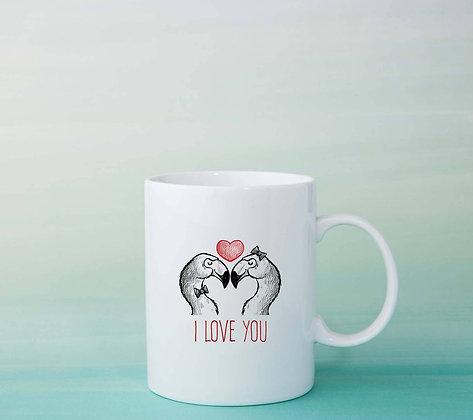 Mug Flamants roses love amour dessin citation idée cadeau