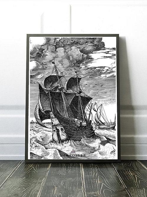 Affiche illustration Voilier