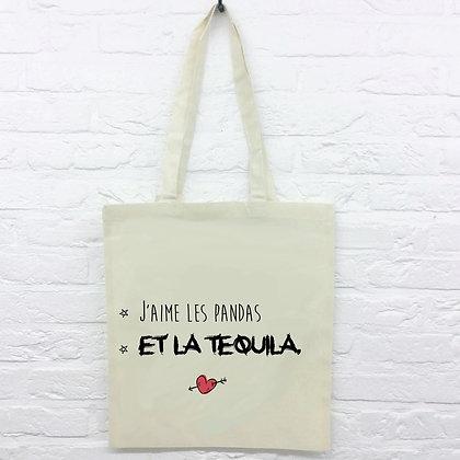 Tote Bag J'aime les pandas et la tequila