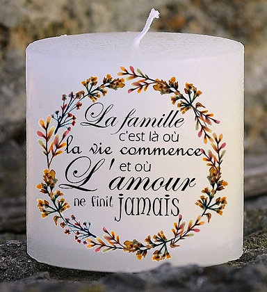 Bougie Personnalisée Nany Candle La famille Citation 366
