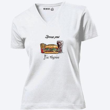 T-shirt Femme Col V J'peux pas j'ai régime citation