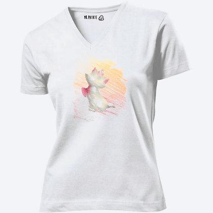 T-shirt Femme Col V Aristochat crayon illustration chat mignon
