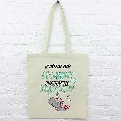 Tote Bag J'aime Les Licornes Funny
