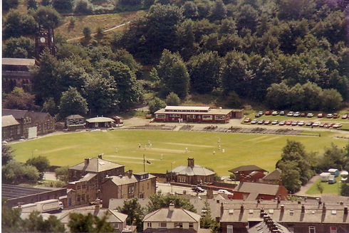 Wide shot of cricket match taken from ro